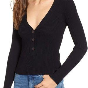 NWT Leith Rib Henley, Black Sweater, XS